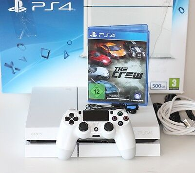 Sony PlayStation 4 500GB Weiss mit Controller + The Crew