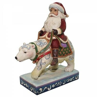 Jim Shore Heartwood Creek Bear With Me Santa Riding A Polar Bear Figurine