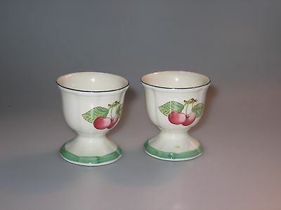 2 Villeroy & Boch Fleurence French Garden Egg Cups - Cherries Germany