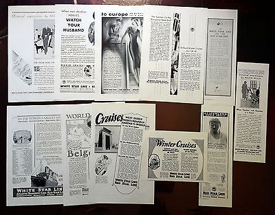 1923-1931 RED STAR LINE / WHITE STAR LINE - Lot of 11 vintage AD USS Belgenland