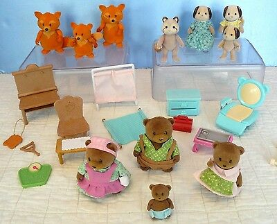 Epoch ALICO CRITTERS Sylvanian/ Others~Lot Doll BEAR FAMILY SET/RACCOONS/ DOGS