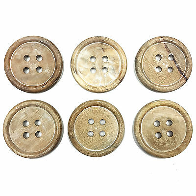 Set Of 6 Shabby Chic Wooden Button Table Coasters For Tea / Coffee