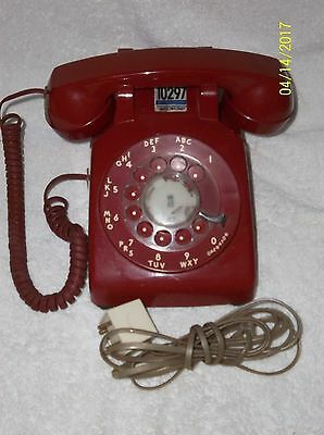 Vintage At&t Red Rotary Desk Top Phone 500Dm R85-2 Works