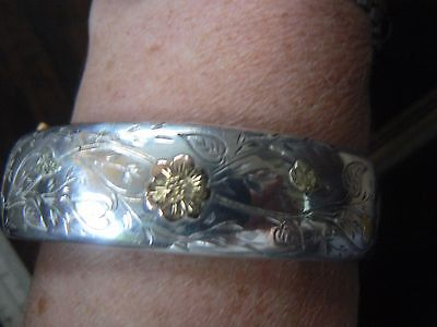 Super Antique French Solid Silver With Rose & Yellow Gold Detail Bangle Mr