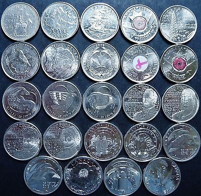 24 Canada 1973-2017 Commemorative 25 Cent Coins Colored & Frosted Set E