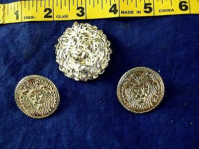 Vintage 80S Large Silver Tone  Lion Pin  Brooch & Matching Earrings Collectable