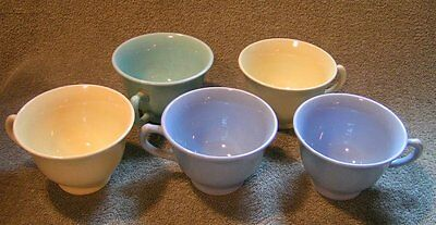 Luray TST Pastel 5 COFFEE CUPS /  TEA CUPS BLUE YELLOW  GREEN