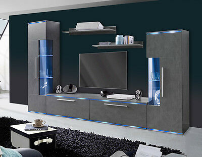 wohnwand anbauwand 5 tlg m vitrine wandregal lowboard anthrazit matt neu 622016 eur 289 00. Black Bedroom Furniture Sets. Home Design Ideas