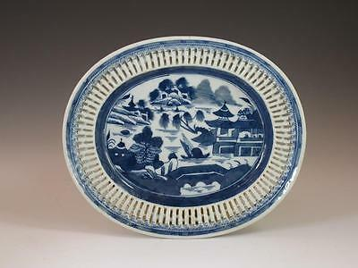 Nice Antique 19Th C Chinese Export Blue & White Reticulated Platter