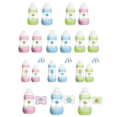 MAM Anti-Colic 160ml, 260ml Baby Flaschen 2er Staret-Set Optional mit Schnuller