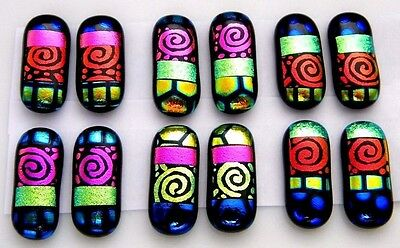 SPIRALS For dangle earrings Lot 12 pcs HANDMADE DICHROIC FUSED GLASS (BJ1) CAB
