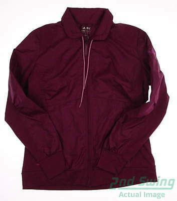 New Logoed Womens Adidas Golf Mixed Media Wind Jacket Large Berry SRP $95 Z88575