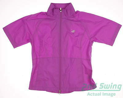 New W/ Logo Womens Zero Restriction Short Sleeve Wind Jacket M Purple MSRP $80
