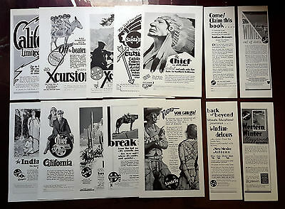 1921-1936 SANTE FE - Lot of 14 vintage AD California Grand Canyon Chief Indian 1