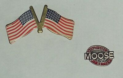 2 Pins Order of the Moose Nobody Does it Better & American USA Flag Pin Pinbacks