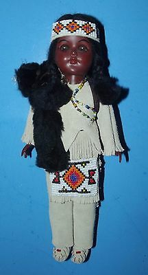 """Carlson Dolls Crow Chief Doll Leather Outfit with Beaded Apron 11"""" Vintage USA"""