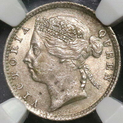 1899 NGC AU 58 Staits Settlements Malaysia Silver 10 cents Key Date (16102507C)