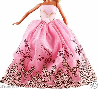 Hot Handwork soft Princess Party Dress/Evening Clothes/Gown For Barbie Doll  093