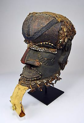 A Very Old Kuba Bwoom helmet mask with beads and adornment~ African Tribal Art