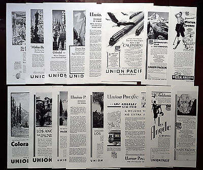 1925-1936 UNION PACIFIC - Lot of 16 vintage AD Train, railway, California (lot1)