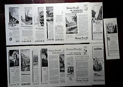 1925-1936 UNION PACIFIC - Lot of 15 vintage AD Train, the overland route (lot1)