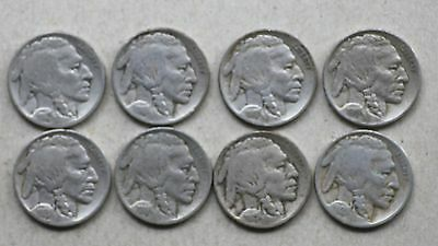 lot of 8 different dates Buffalo Nickels run,  1914-1921