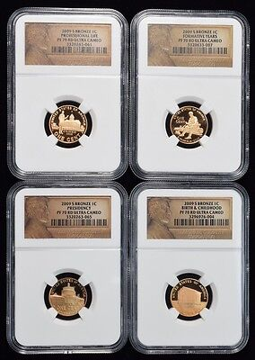 2009-S Lincoln Bicentennial complete 4 Coin Proof Set NGC PF-70 Red Ultra Cameo