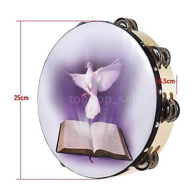 "10"" Double Row Jingle Tambourine Handbell Clap Drum Dove & Bible Pattern L3F8"