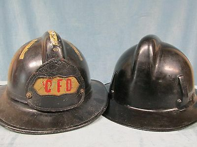 Vintage Pair Used Fireman's Fire Fighter Black Helmets CFD M-S-A Topgard