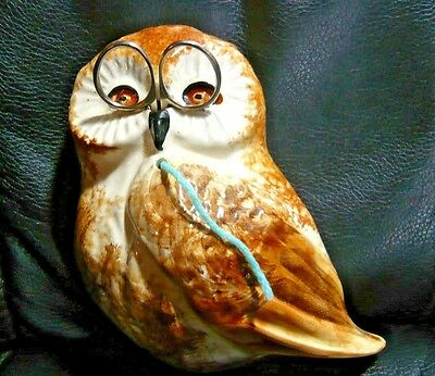 Vintage Toni Raymond Pottery Owl Scissors And String Holder With Scissors
