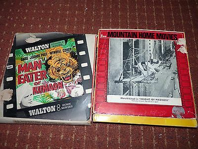 Standard 8Mm 400Ft Films X 2 Harold Lloyd,maneater Black And White Sound +Adds