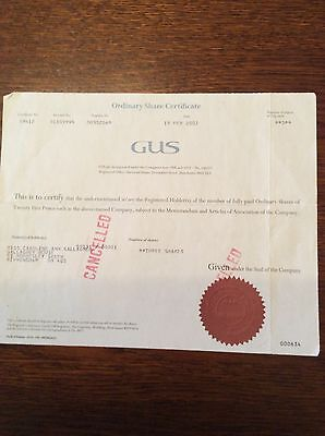 GUS (Great Universal Stores ) Dated 2002 3  Shares Invalid Share Certificate