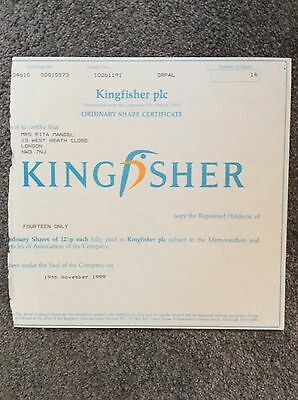 Kingfisher Dated 1999 14 Shares Invalid Share Certificate