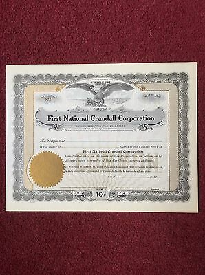 First National Crandall Corp. Unused Certificate Shares Invalid