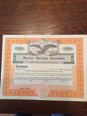 Superior Operating Corp. (blank Cert.) Shares Invalid Share Certificate