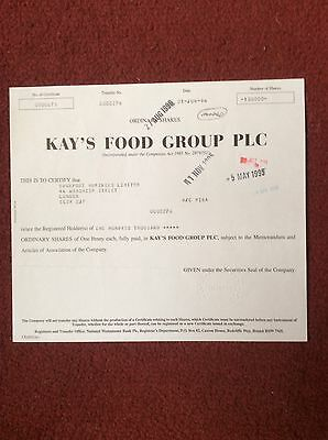 Kay's Food Group Dated 1994 100,000 Shares Invalid Share Certificate