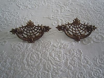 2 Antique Decorative Brass DRAWER HANDLES PULLS c1930's