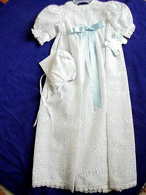 Embroidered Fabric  Long White Christening Gown  & Bonnett   Chest 18""
