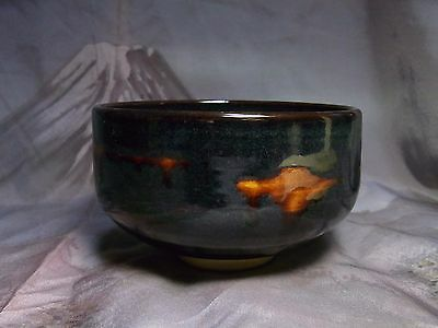 Unused Japanese Tea Ceremony Matcha Chawan Bowl Black Glaze Pottery Stamped
