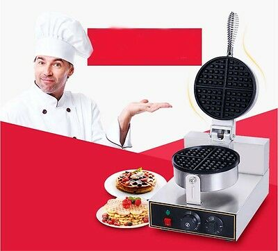 New Single Head Commercial 1250W Non Stick Plates Stainless Steel Waffle Maker*