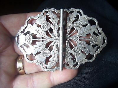 A  Silver Nurses Buckle Stunning Quality Engraved Scottish Thistle Design
