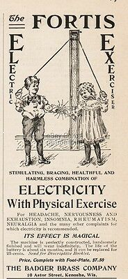 1900 Badger Brass Kenosha WI Fortis Electric Exerciser MAGICAL Effect Print Ad