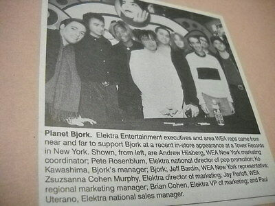 BJORK w/ execs at Tower Records in New York original 1996 promo pic with text