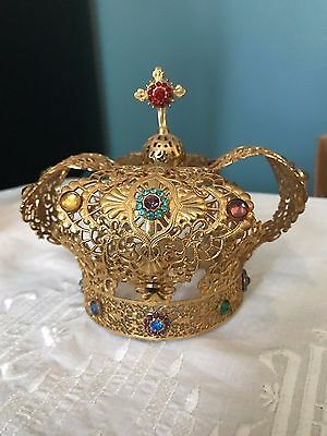 Gorgeous Large Antique Jeweled Filigree Crown For Infant Jesus Of Prague Statue