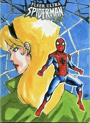 Spiderman Fleer Ultra 2017 Sketch Card By Andrew Lopez