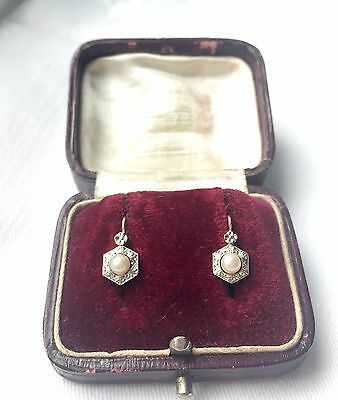 Antiques French 18ct gold platinum Pearl set earrings