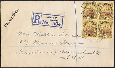 Bermuda 1932 Block of Four 3d Very Fine Registered to Fairhaven USA