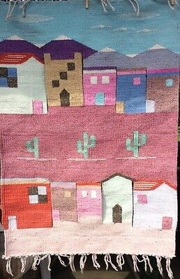 Southwest Wall Hanging Tapestry Adobe Houses Cactus Pastel Made Mexico Big 29x40