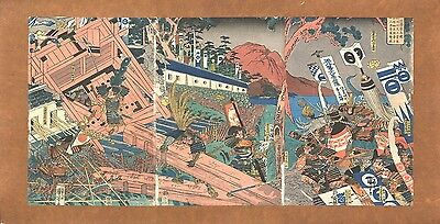 Genuine original Japanese woodblock print Kuniyoshi triptych