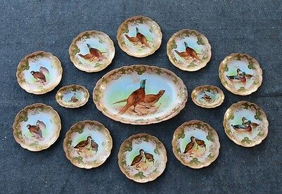 "13 Piece A & D Limoges Hand Painted Porcelain Game Set - Signed ""A. Bronssillon"""